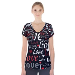 Red Love pattern Short Sleeve Front Detail Top