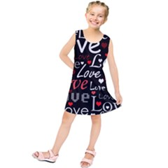 Red Love Pattern Kids  Tunic Dress