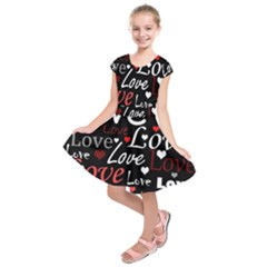 Red Love pattern Kids  Short Sleeve Dress