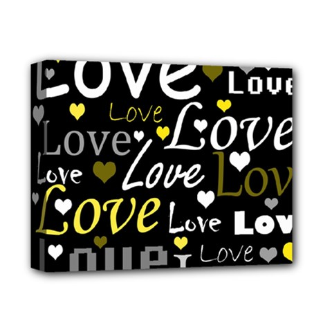 Yellow Love pattern Deluxe Canvas 14  x 11