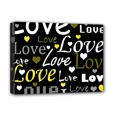 Yellow Love pattern Deluxe Canvas 16  x 12