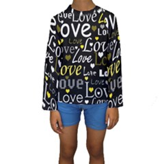 Yellow Love pattern Kids  Long Sleeve Swimwear