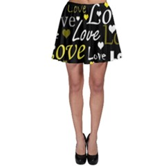 Yellow Love pattern Skater Skirt