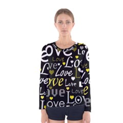 Yellow Love pattern Women s Long Sleeve Tee