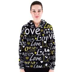 Yellow Love pattern Women s Zipper Hoodie
