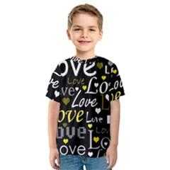 Yellow Love pattern Kids  Sport Mesh Tee