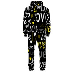 Yellow Love pattern Hooded Jumpsuit (Men)