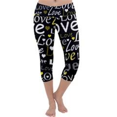 Yellow Love pattern Capri Yoga Leggings