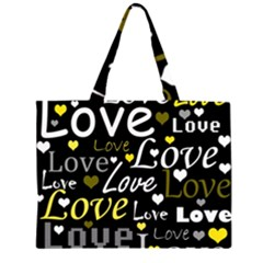 Yellow Love pattern Zipper Large Tote Bag