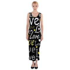 Yellow Love pattern Fitted Maxi Dress