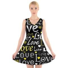 Yellow Love pattern V-Neck Sleeveless Skater Dress