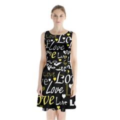Yellow Love pattern Sleeveless Chiffon Waist Tie Dress