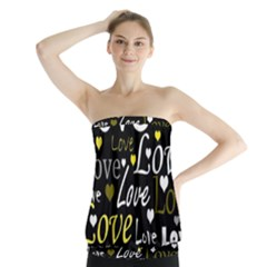 Yellow Love pattern Strapless Top