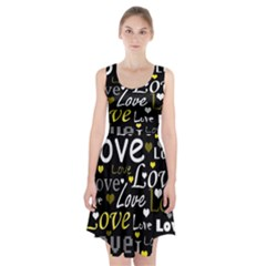 Yellow Love pattern Racerback Midi Dress
