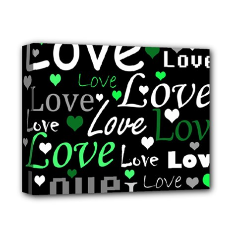 Green Valentine s day pattern Deluxe Canvas 14  x 11