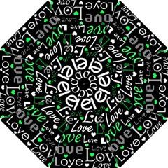 Green Valentine s day pattern Hook Handle Umbrellas (Small)