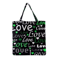 Green Valentine s day pattern Grocery Tote Bag