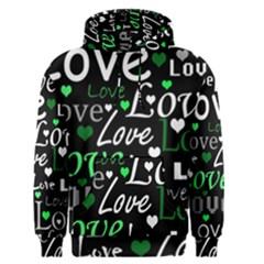 Green Valentine s day pattern Men s Pullover Hoodie