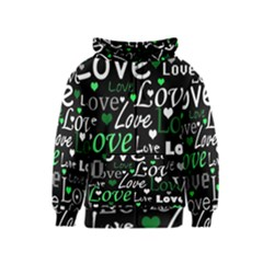 Green Valentine s day pattern Kids  Zipper Hoodie