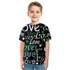 Green Valentine s day pattern Kids  Sport Mesh Tee