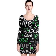 Green Valentine s day pattern Long Sleeve Velvet Bodycon Dress