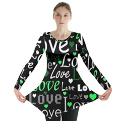 Green Valentine s day pattern Long Sleeve Tunic