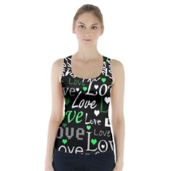 Green Valentine s day pattern Racer Back Sports Top