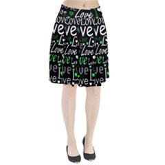 Green Valentine s day pattern Pleated Skirt