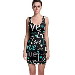 Valentine s day pattern - cyan Sleeveless Bodycon Dress