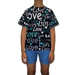 Valentine s day pattern - cyan Kids  Short Sleeve Swimwear