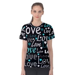 Valentine s day pattern - cyan Women s Cotton Tee