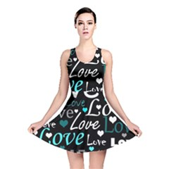 Valentine s day pattern - cyan Reversible Skater Dress