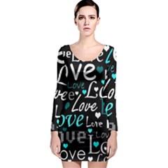 Valentine s day pattern - cyan Long Sleeve Bodycon Dress