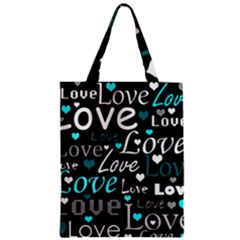 Valentine s day pattern - cyan Classic Tote Bag