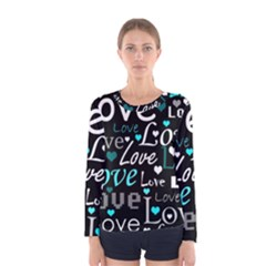 Valentine s day pattern - cyan Women s Long Sleeve Tee