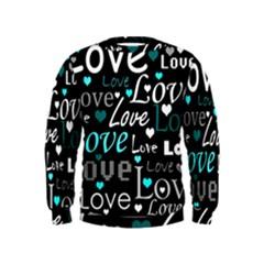 Valentine s day pattern - cyan Kids  Sweatshirt