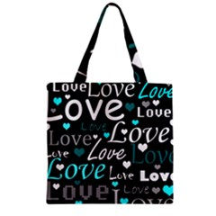 Valentine s day pattern - cyan Zipper Grocery Tote Bag