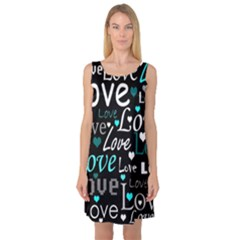 Valentine s day pattern - cyan Sleeveless Satin Nightdress