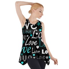 Valentine s day pattern - cyan Side Drop Tank Tunic