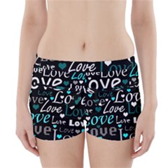 Valentine s day pattern - cyan Boyleg Bikini Wrap Bottoms