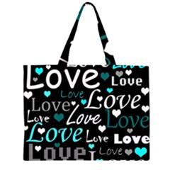 Valentine s day pattern - cyan Large Tote Bag