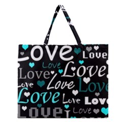 Valentine s day pattern - cyan Zipper Large Tote Bag