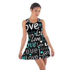 Valentine s day pattern - cyan Cotton Racerback Dress
