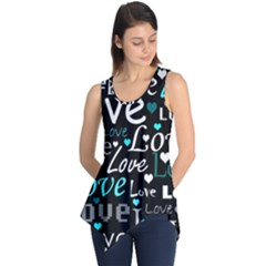 Valentine s day pattern - cyan Sleeveless Tunic