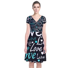 Valentine s day pattern - cyan Short Sleeve Front Wrap Dress