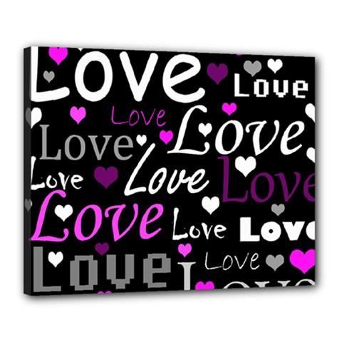 Valentine s day pattern - purple Canvas 20  x 16