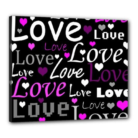 Valentine s day pattern - purple Canvas 24  x 20