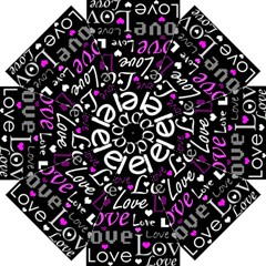 Valentine s day pattern - purple Straight Umbrellas