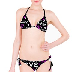 Valentine s day pattern - purple Bikini Set