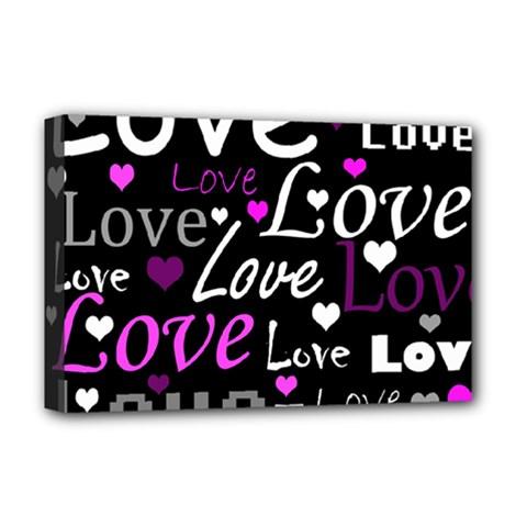 Valentine s day pattern - purple Deluxe Canvas 18  x 12